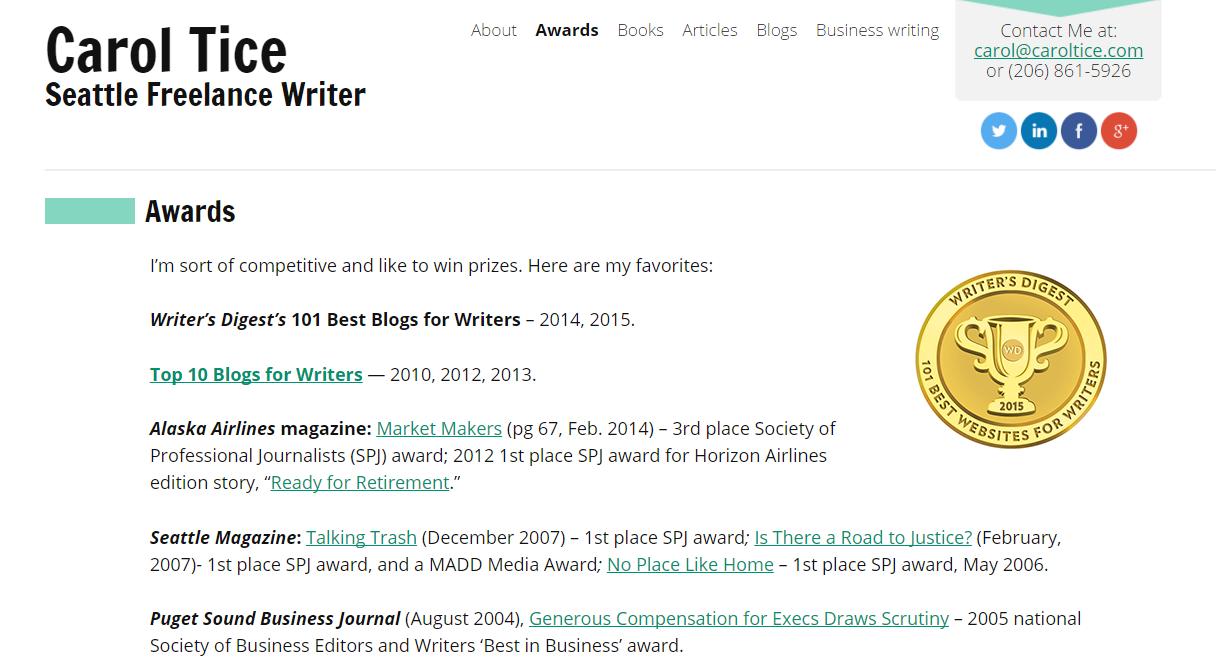 Freelance writing website inspiration
