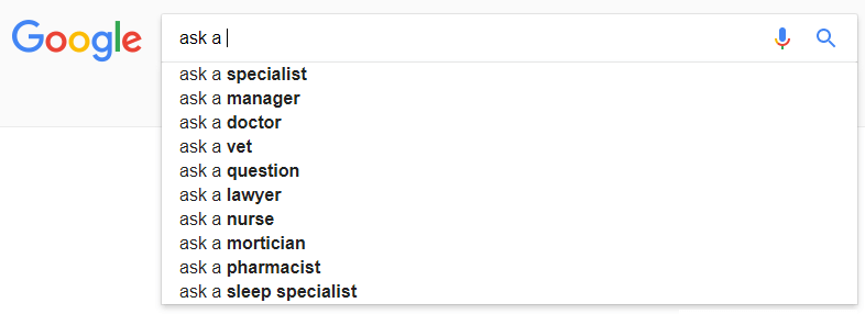 ask a google results